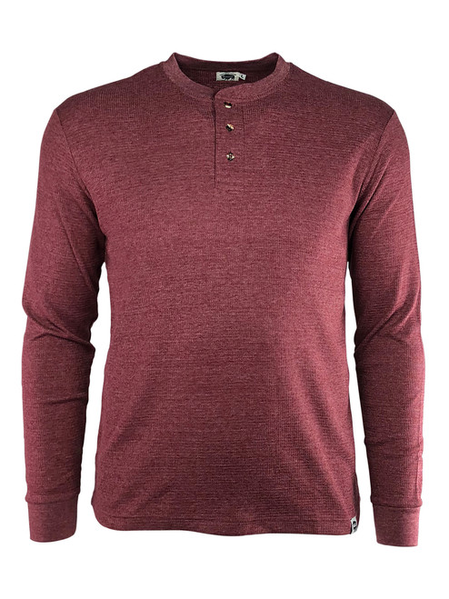 3 Button Long Sleeve Textured Work Henley Red Front