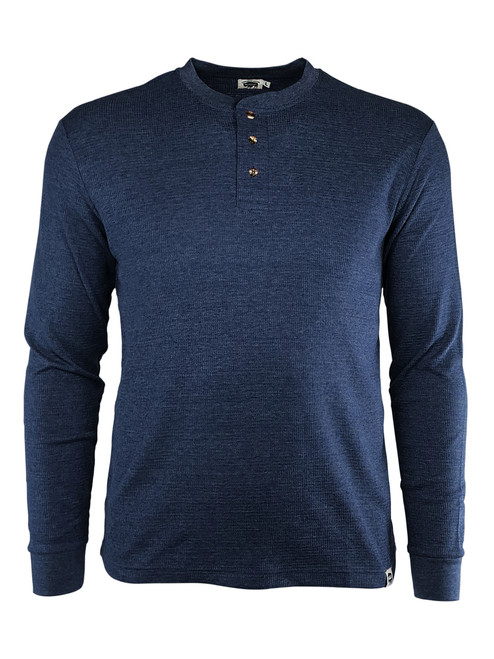 Three-Button Long Sleeve Waffle Textured Work Henley Blue Front