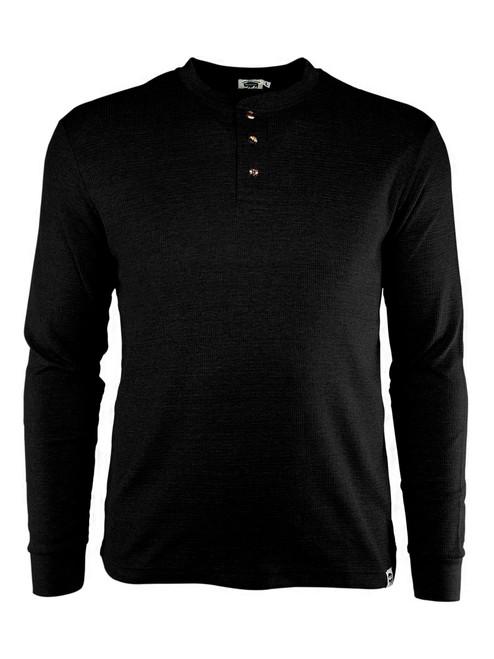 Three-Button Long Sleeve Textured Work Henley Black Front
