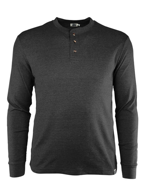Three-Button Long Sleeve Textured Work Henley Charcoal Front