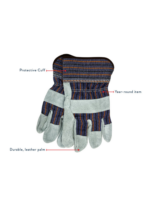 Buffalo Outdoors® Heavy Duty All-Season Leather Palm Work Glove 3-Pack | Features