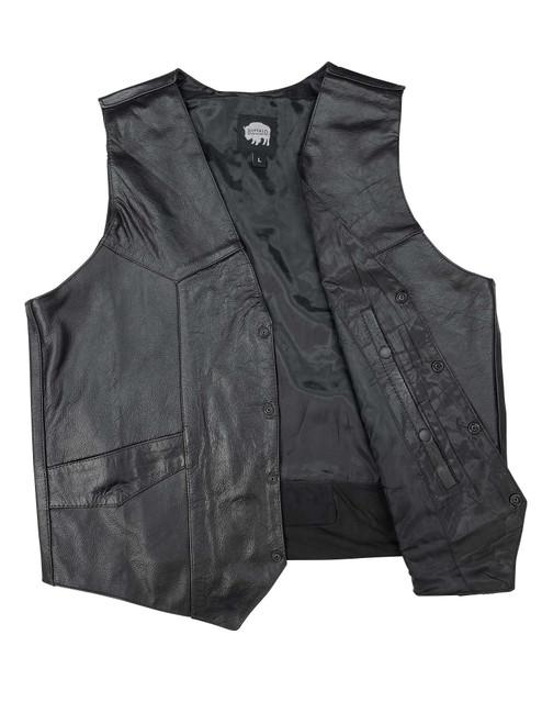 Buffalo Outdoors® Leather Biker Vest with Gun Pocket Open