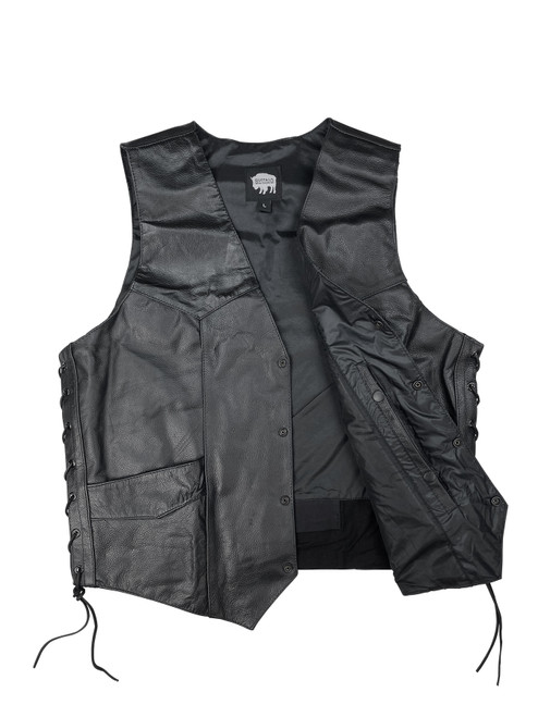 Buffalo Outdoors® Side Lace Leather Biker Vest with Gun Pocket Front Open