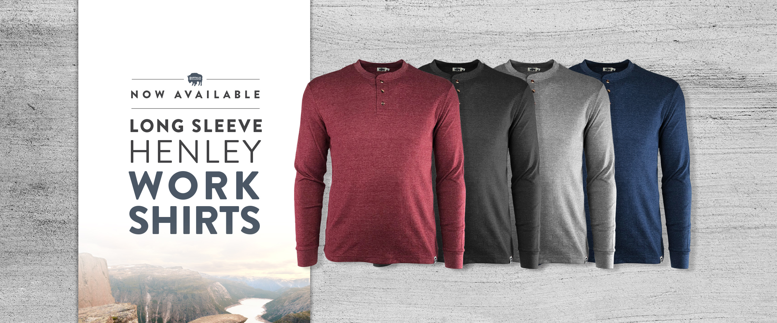 Buffalo Outdoors Long Sleeve Textured Work Henley Shirts