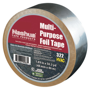 Berry Global 322 Multi-Purpose Plain Foil Tape, 2 in x 50 yd, 5 mil, Aluminum Silver (1 RL)