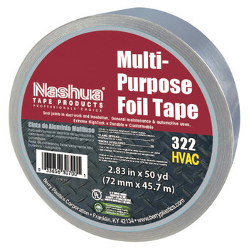 Berry Global 323 Multi-Purpose Plain Foil Tape, 72 mm x 46 m, 5 mil, Aluminum Silver (1 RL)