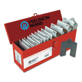 """Precision Brand Slotted Shim Assortment Kits, 2 X 2 in, .001-1/8"""" Thick, Full Asst (1 AST)"""