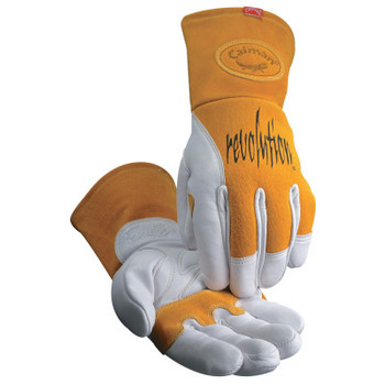 Caiman MIG/Multi-Task Welding Gloves, Cow Grain Leather/Pigskin, X-Large, White/Tan (1 Pair)