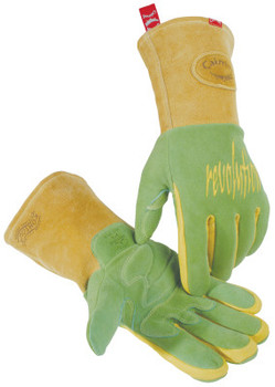 Caiman Revolution Welding Gloves, American Deerskin Leather, Large, Green/Gold (1 Pair)