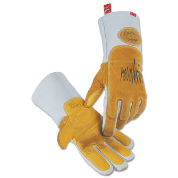 Caiman Revolution Welding Gloves, Goat Grain Leather, X-Large, White/Brown (1 Pair)