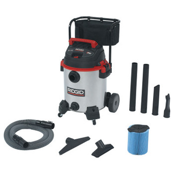 Ridgid Stainless Steel Wet/Dry Vac with Cart Model 1610RV, 16 gal, 6.5 hp (1 EA)