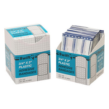 Honeywell Adhesive Bandages, 3/4 in x 3 in Strips, Plastic (1 BX)