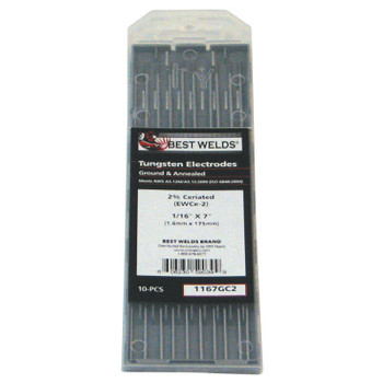 Best Welds 2% Ceria Ground Tungsten Electrodes, 1/16 in Dia, 7 in Long (1 PK)