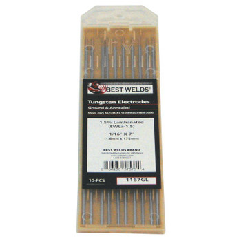 Best Welds 1.5% Lanthanated Tungsten Electrodes, 1/16 in Dia, 7 in Long (1 PK)