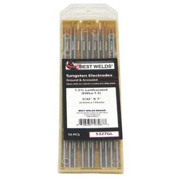 Best Welds 2% Ceria Ground Tungsten Electrodes, 1/8 in Dia, 7 in Long (1 PK)