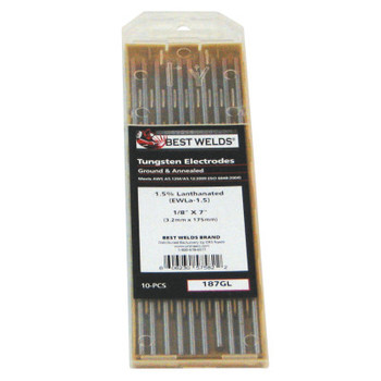 Best Welds 1.5% Lanthanated Tungsten Electrodes, 1/8 in Dia, 7 in Long (1 PK)