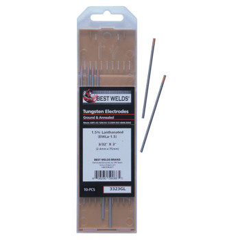 Best Welds 1.5% Lanthanated Tungsten Electrodes, 3/32 in Dia, 3 in Long (1 PK)