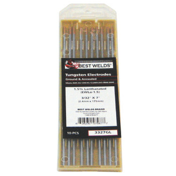Best Welds 1.5% Lanthanated Tungsten Electrodes, 3/32 in Dia, 7 in Long (1 PK)