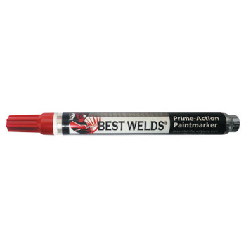Best Welds Prime-Action Paint Markers, Reversible Chisel/Bullet Tip, Red (12 EA)