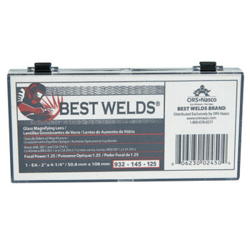 Best Welds Glass Magnifier Plate, 2 in x 4.25 in, 1.25 Diopter, Clear (1 EA)