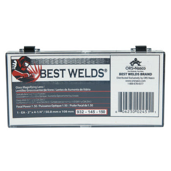 Best Welds Glass Magnifier Plate, 2 in x 4.25 in, 1.5 Diopter, Clear (1 EA)