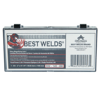 Best Welds Glass Magnifier Plate, 2 in x 4.25 in, 2 Diopter, Clear (1 EA)