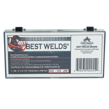 Best Welds Glass Magnifier Plate, 2 in x 4.25 in, 2.5 Diopter, Clear (1 EA)