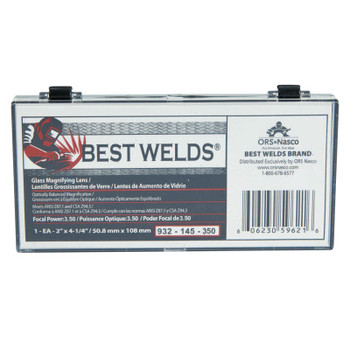 Best Welds Glass Magnifier Plate, 2 in x 4.25 in, 3.5 Diopter, Clear (1 EA)