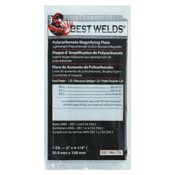 Best Welds Plastic Magnifier Plate, 2 in x 4.25 in, 1.25 Diopter, Polycarbonate, Clear (1 EA)