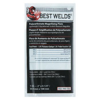 Best Welds Plastic Magnifier Plate, 2 in x 4.25 in, 1.5 Diopter, Polycarbonate, Clear (1 EA)