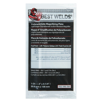 Best Welds Plastic Magnifier Plate, 2 in x 4.25 in, 2 Diopter, Polycarbonate, Clear (1 EA)