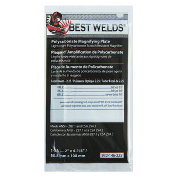 Best Welds Plastic Magnifier Plate, 2 in x 4.25 in, 2.25 Diopter, Polycarbonate, Clear (1 EA)
