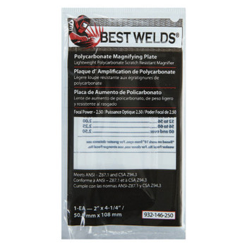 Best Welds Plastic Magnifier Plate, 2 in x 4.25 in, 2.5 Diopter, Polycarbonate, Clear (1 EA)