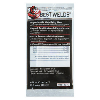 Best Welds Plastic Magnifier Plate, 2 in x 4.25 in, 0.75 Diopter, Polycarbonate, Clear (1 EA)