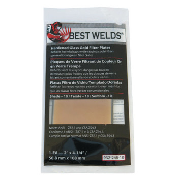 Best Welds Hardened Glass Gold Filter Plate, Gold/10, 2 in x 4.25 in, SH10, Glass (1 EA)