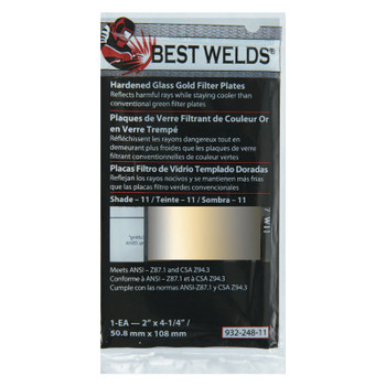Best Welds Hardened Glass Gold Filter Plate, Gold/11, 2 in x 4.25 in, SH11, Glass (1 EA)