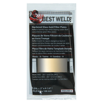 Best Welds Hardened Glass Gold Filter Plate, Gold/9, 2 in x 4.25 in, SH9, Glass (1 EA)