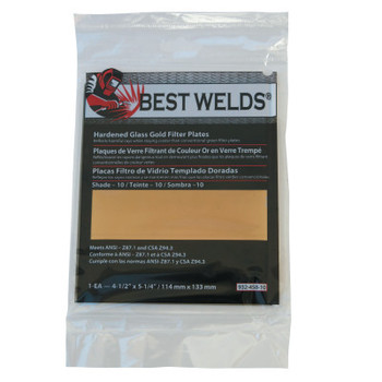 Best Welds Hardened Glass Gold Filter Plate, Gold/10, 4.5 in x 5.25 in, SH10, Glass (1 EA)