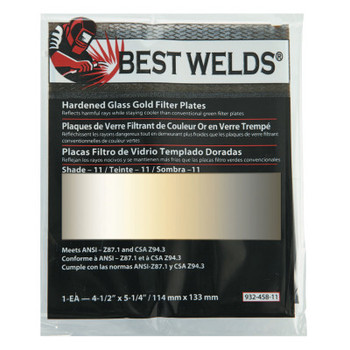 Best Welds Hardened Glass Gold Filter Plate, Gold/11, 4.5 in x 5.25 in, SH11, Glass (1 EA)