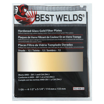 Best Welds Hardened Glass Gold Filter Plate, Gold/12, 4.5 in x 5.25 in, SH12, Glass (1 EA)