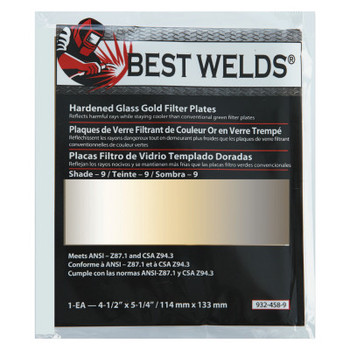 Best Welds Hardened Glass Gold Filter Plate, Gold/9, 4.5 in x 5.25 in, SH9, Glass (1 EA)