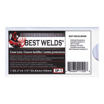 Best Welds Cover Lens, Scratch/Static Resistant, 4 1/4 in x 2 in, 70% CR-39 Plastic (1 EA)