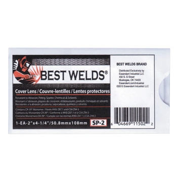 Best Welds Cover Lens, Scratch/Static Resistant, 4 1/4 in x 2 in, 100% CR-39 Plastic (1 EA)