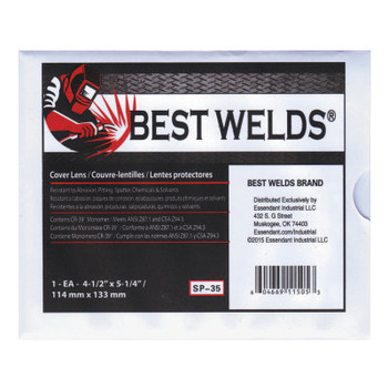 Best Welds Cover Lens, Scratch/Static Resistant, 4 1/2 in x 5 1/4 in, 70% CR-39 Plastic (1 EA)