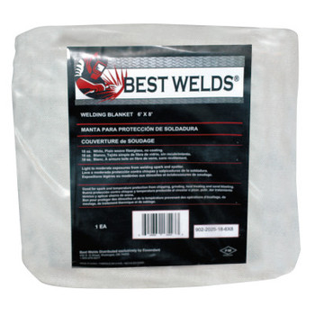 Best Welds Welding Blankets, 8 ft X 6 ft, Fiberglass, White (1 EA)
