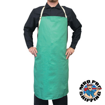 Best Welds Cotton Sateen Bib Apron w/Protective Leather Patch, 24 in x 42 in, Visual Green (1 EA)