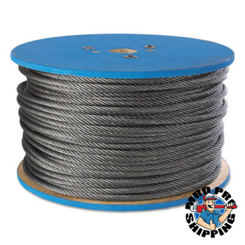 Peerless Aircraft Quality Wire Ropes, 7 Strands, 19 Strands/Wire, 1/8 in, 400 lb Load (500 RL/EA)
