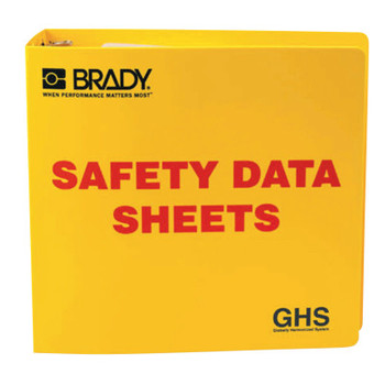 Brady GHS Safety Data Sheet Binders, English, 3 in, Yellow (1 EA/DZ)