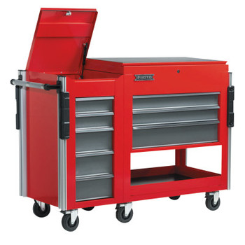 Stanley Products Utility Cart Side Cabinets, 18 in x 20 in x 34 in, 5 Drawers, Red (1 EA/DZ)