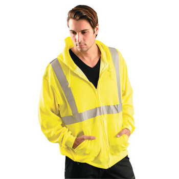 OccuNomix Classic Hoodie Sweatshirt, Large, Yellow w/Silver Reflective Tape (1 EA/DZ)